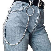 New key ring small Ring Key Rock Punk Hook Trousers Pant Waist Link Belt Chain Metal Wallet Silver Chain Men Jewelry Pants Chain(China)