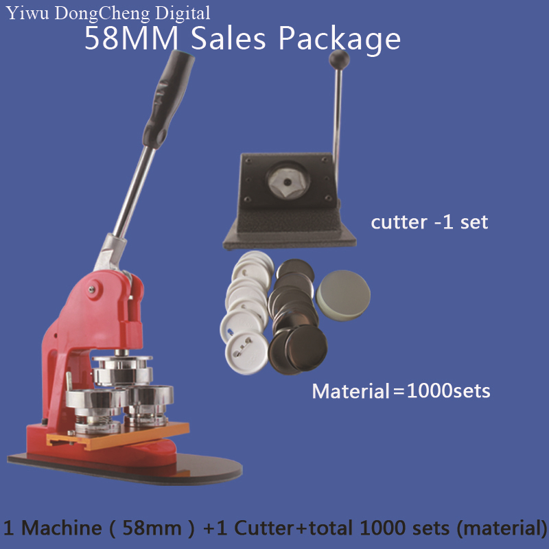 Free Shipping 58mm Button Badge Making Machine + Metal stander Cutter+1000sets Plastic Pin  Buttons Material badge machine suppliers 1 1 4 32mm badge machine with 1000set pin buttons circle cutter button making machine pack
