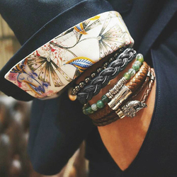 Bracelet Men/Leather Bracelet/Fashion/Black/Braid/Woven/Stainless Steel/Custom/male/bracelets 2018 charm Jewelry valentine Gift