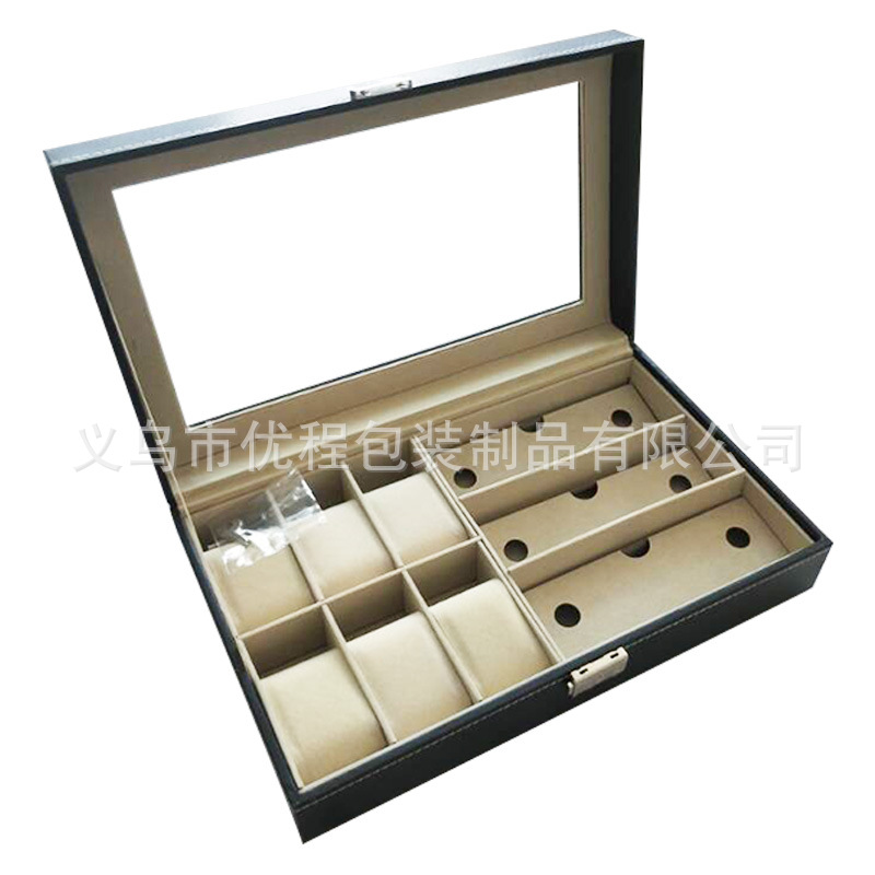 6 montre + 3 boîte à lunettes cuir synthétique polyuréthane noir boîte de rangement de lunettes boîte de montre en bois Girds cuir/Fiber de carbone boîte de montre de luxe