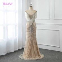 Luksusowe Nude długa syrenka suknia dżetów frezowanie suknie na konkurs piękności Vestido De Festa YQLNNE