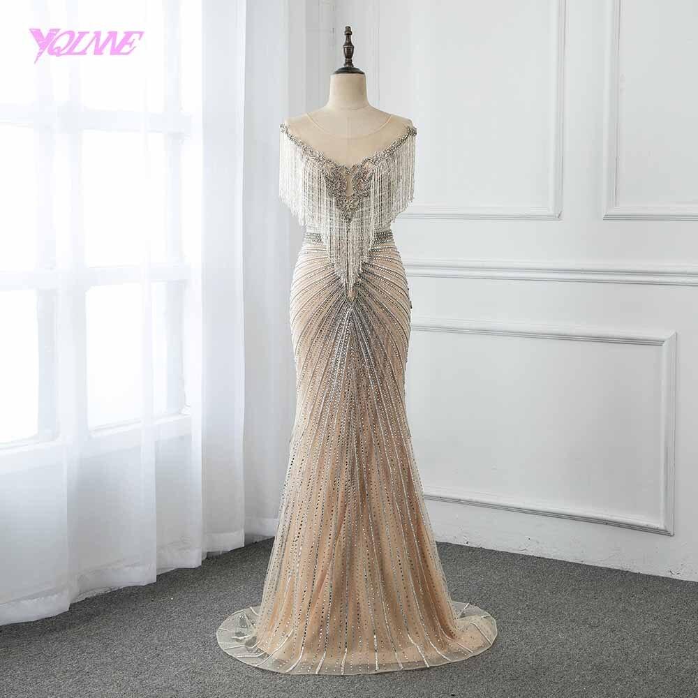 Luxo nude longo sereia vestido de noite strass beading pageant vestidos vestido de festa yqlnne