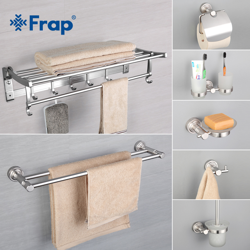 Frap 7 Pieces Bathroom Accessories Space Aluminum Cup Holder Glass Cups Robe Hook Tooth brush Tooth Cup Holder F37T7