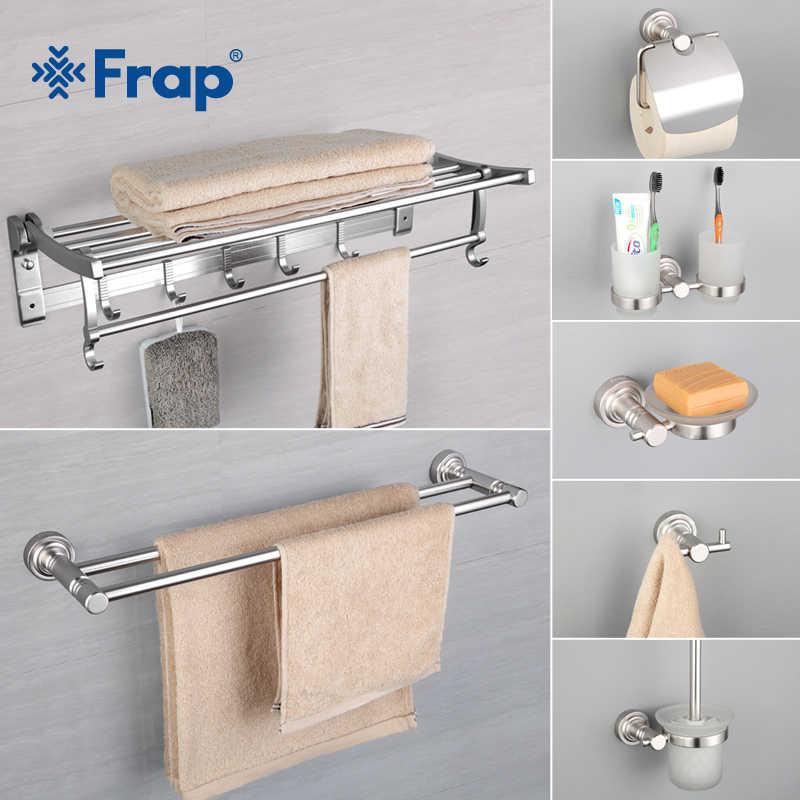 Frap 7 sztuk akcesoria łazienkowe przestrzeń aluminium uchwyt na kubek kubki szklane wieszak ścienny szczotka do zębów uchwyt na kubek do zębów F37T7