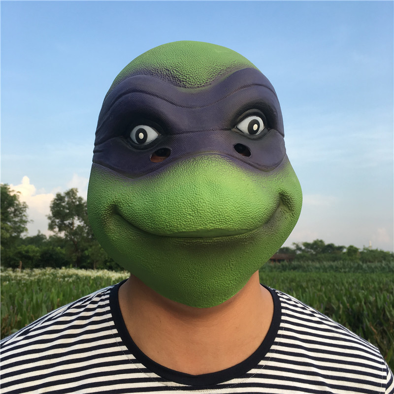 Green Turtles Latex Mask Cool Turtle Head Mask For Man Halloween Cosplay Costume Prop Breathable Festival