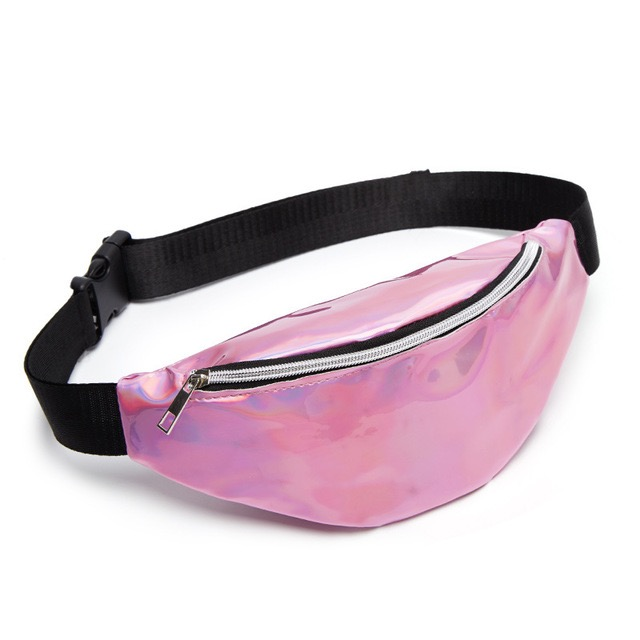 Free Shipping Laser Waist Packs Bags Women Pure Color Fanny Pack Female Belt Bag Black PVC Waist Packs Laser Chest Phone Pouch(China)