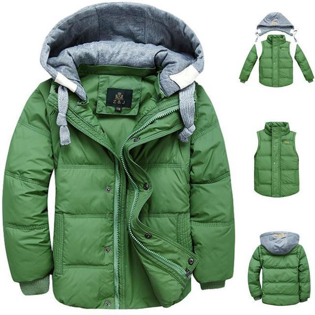 2017 invierno muchachos de los niños abajo cubre la chaqueta de moda con capucha gruesa sólido caliente muchacho de la capa ropa de invierno outwear para 4-13 T 6 colores
