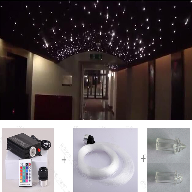 Free shipping restaurant Hotel asile crystal end piece fiber optic starry star light with 0.75 1 1.5mm