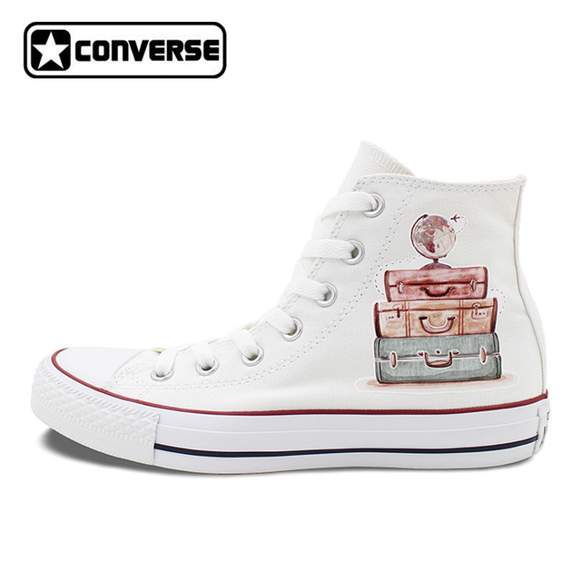 Converse All Star Cute Watercolor Luggage Travel Round the World High Top  White Canvas Sneakers for