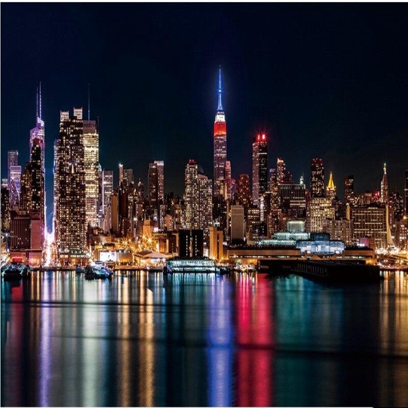 Beibehang custom behang nieuwe york night view van de stad for Foto new york notte