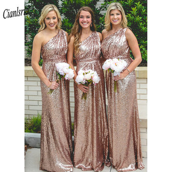 Rose Gold One Shoulder Sequined Long Bridesmaid Dresses With Pleat Wedding Guest Dress For Wedding Party vestido madrinha