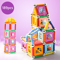 189pcs Magnetic Blocks Magnet Sticks Bars Metal Balls Magnetic Designer Construction Toys for Children Gifts