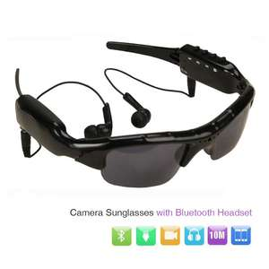 e409317247 Micro Camera MP3 Player Mini Camcorder Sunglasses Camera with Bluetooth  Headphones