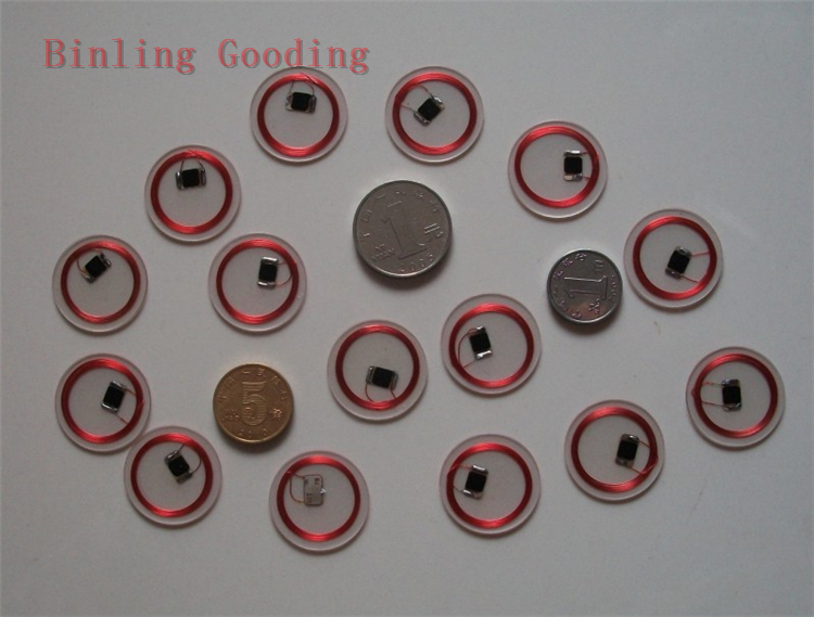 13.56MHZ MF 1K S50 F08 NFC Tags ISO14443A NFC Transparent Coin Card 18mm Tiny NFC 13 56mhz mf 1k s50 fm11rf08 f08 nfc transparent trops of glue card rfid key tag key ring