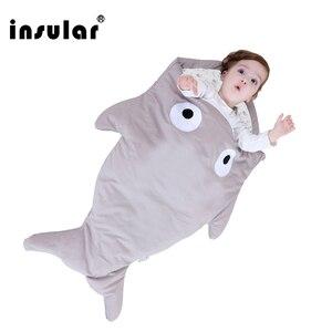 Image 3 - Insular sac de couchage pour bébé, couverture de requin, mignon, dessin animé, sac de couchage dhiver pour bébé, selle chaude, nouveauté