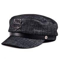 Novelty Man Genuine Leather Flat Top Punk Rivet Letters Cowboy Baseball Caps Woman Winter British Style