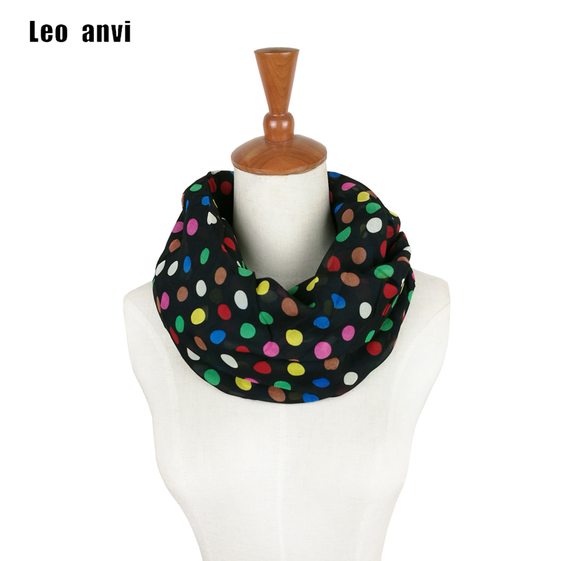 6894100ff015 Gasa seda Polka Dot bufanda de las mujeres Bucle infinito bufanda Pastel  bufanda de verano Boho colores punto bufandas de moda de las mujeres ...