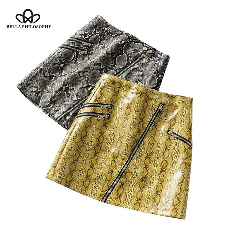 Bella Philosophy Women Snake Print PU Leather Mini Skirt Faldas Mujer Animal Pattern Zippers Decoration Female Casual Chic Skirt