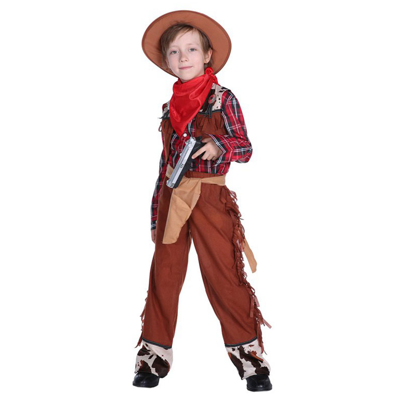 Boys Wrangler Sheriff  Costume Child Cowboy Costumes For Kids Boy Halloween Purim Party Carnival Cosplay