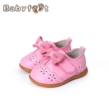 Hot Sale The New Spring And Autumn Leather Baby First Walkers Girl Princess Shoes Non-slip Soft Bottom Breathable Hook&Loop Styl