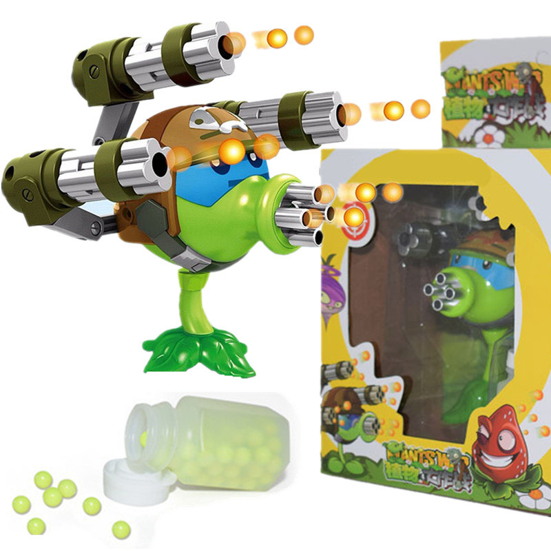 Plants vs Zombies Gatling Pea Shooter Anime Action Figures My World Minecraft Legoings Toys For Children Gifts XD331