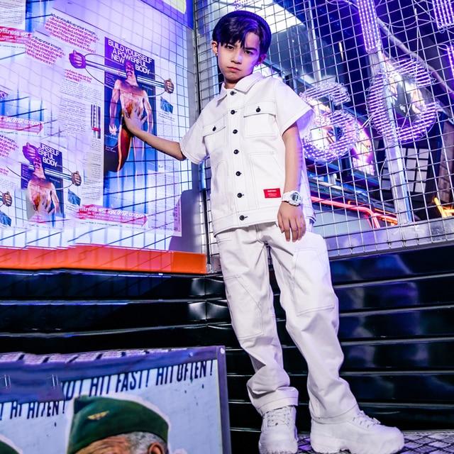 היפ הופ ריקוד תלבושות קצר שרוולים למעלה מכנסיים קיץ גאות רחוב שלב בגדי ילד ריקוד ג אז תלבושות ביצועים ללבוש DQS146