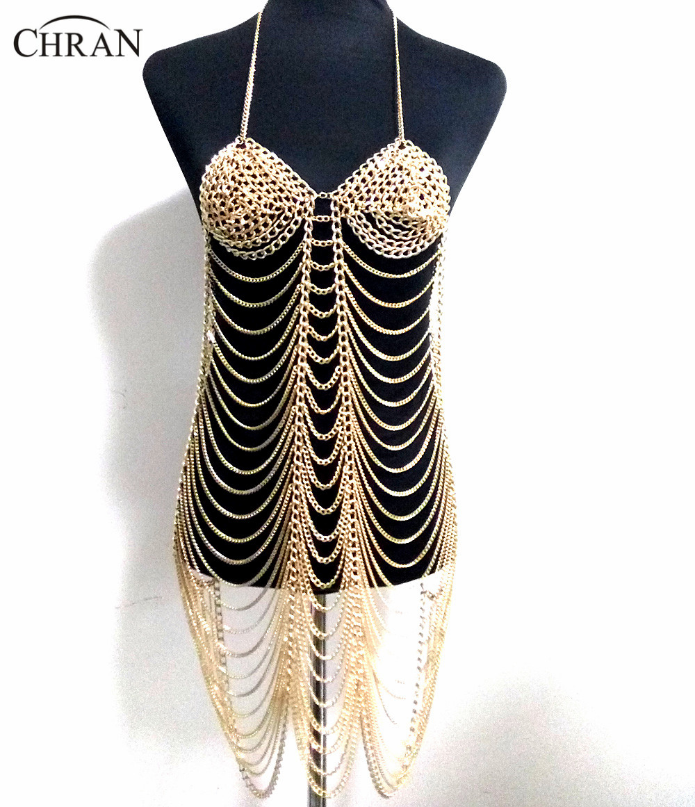 Chran Silver Color Sexy Women Harness Full Body Chain Belly Waist Fashion Costume Chain Bra Dress Bikini Body Jewelry CRBJ803 new women s belly dance set costume belly dancing clothes sexy night dance bellydance carnival tops chain bra belt 18128