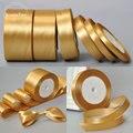 Золотая 25 ярдов, 6 мм, 10 мм, 15 мм, 25 мм, 38 мм, 50 мм, атласная лента с поясом, подарок, лук, аксессуары для свадебной вечеринки, банкетное украшение