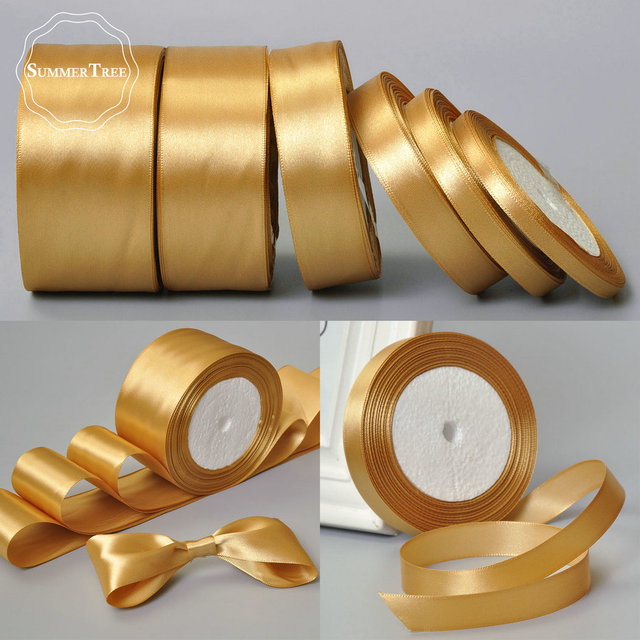 Gold 25yards 6mm 10mm 15mm 25mm 38mm 50mm Satin Ribbon Sash Gift Bow
