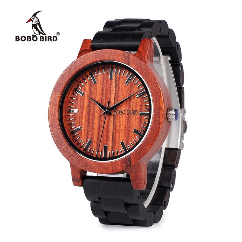 BOBO BIRD WM05 Men Women Wooden Watches Red Sandalwood Case Scale Dial Ebony Wooden Band Quartz Watch Brand Designer OEM