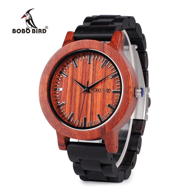 Saatler'ten Sevgili Saatleri'de Bobo kuş Wm05 erkek kadın ahşap saatler kırmızı sandal davası ölçekli arama abanoz ahşap Band quartz saat tasarımcı Oem title=