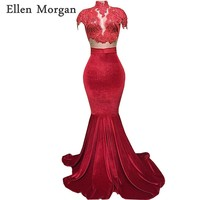 Red Velvet 2 Pieces Mermaid Prom Dresses 2018 for African Black Girls High Neck Lace Beads Long Vestido De Festa for Party Gowns