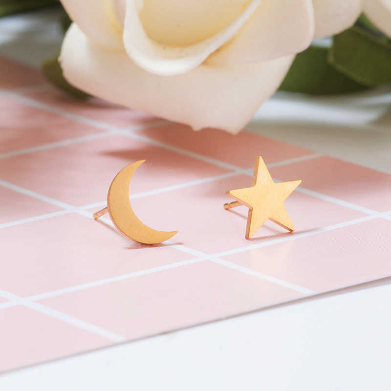 2019 Female Stainless Steel Golden Sliver colour Star Moon Stud Earrings Cute Mini Stud Earring For Girls Minimalist Jewelry