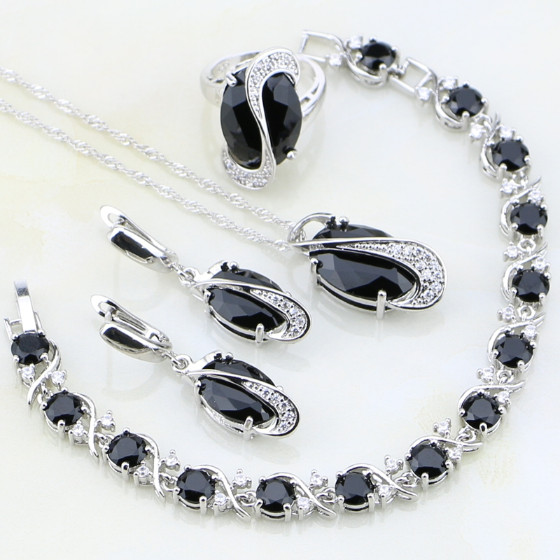 925 Sterling Silver Jewelry Black Crystal White Zircon Jewelry Sets For Women Wedding Earring/Pendant/Necklace/Bracelet/Ring viennois new blue crystal fashion rhinestone pendant earrings ring bracelet and long necklace sets for women jewelry sets
