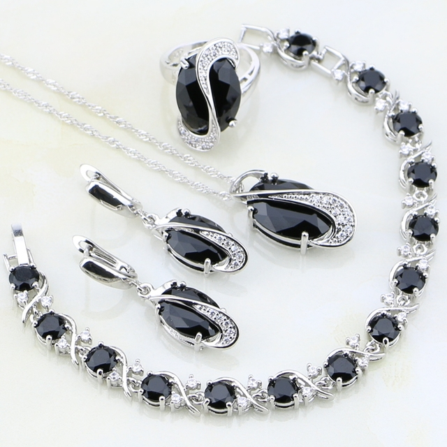 aliexpress com buy 925 sterling silver jewelry black crystal white
