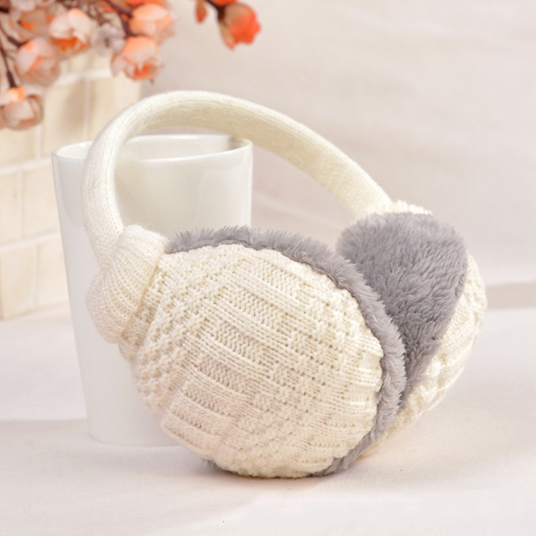 Charming Winter Ear Cover Women Warm Knitted Earmuffs Ear Warmers Women Girls Plush Ear Muffs Earlap Warmer Headband