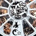 Brone черный микс Хэллоуин в форме тыквы Лицо Ведьма паук сетка черный Кот летучая мышь металлические блестки для нейл Арта (искусство украшен...