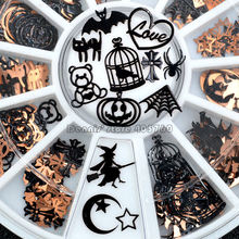 Brone Zwarte Mix Halloween Vorm Pompoen Gezicht Heks Spider Netto Zwarte Kat Vleermuis Metallic Nail Art Pailletten Decals Gem DIY wiel(China)