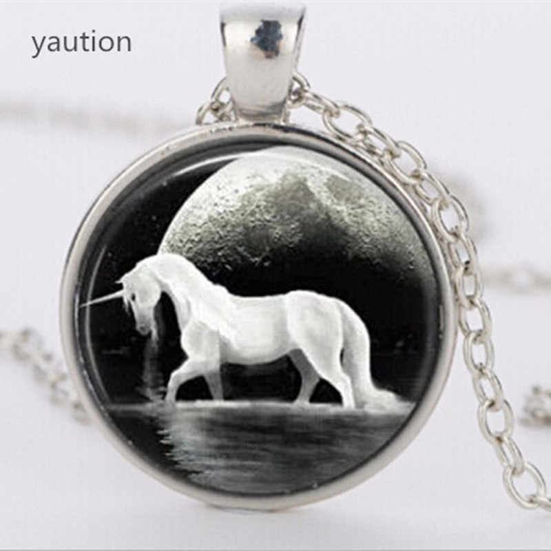 Brand Cute horse pendant necklace jewelry glass art glass cabochon unicorn necklace jewelry animal jewelry