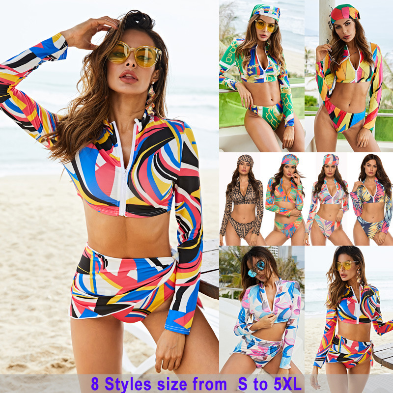 Sexy Women Bikini Set Long Sleeve Front Zipper Brazilian Thong Swimsuit 2019 Colorful Printed Swimwear Plus Size Bathing Suits
