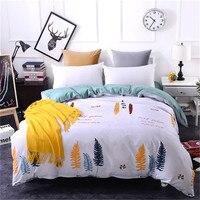 White Blue feather pattern bedding 1pcs Duvet Cover Zipper 100% Cotton Soft Quilt Comforter Blanket Case Duvet Cover bedclothes