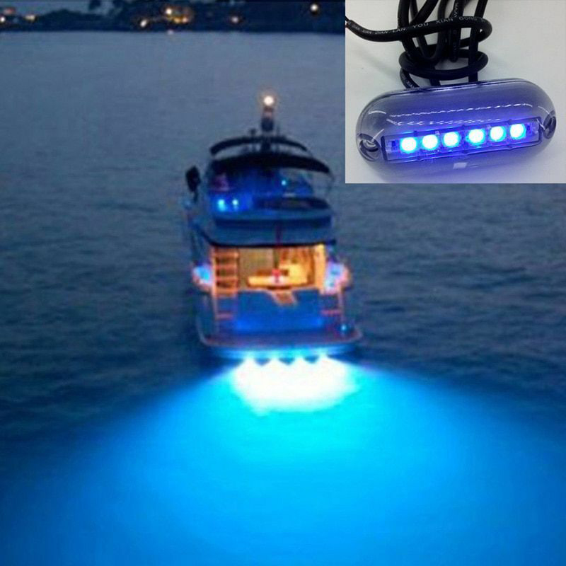 Underwater Light Fishing Marine Boat Night Landscape Lighting 6 LED Waterproof 12V PAK55