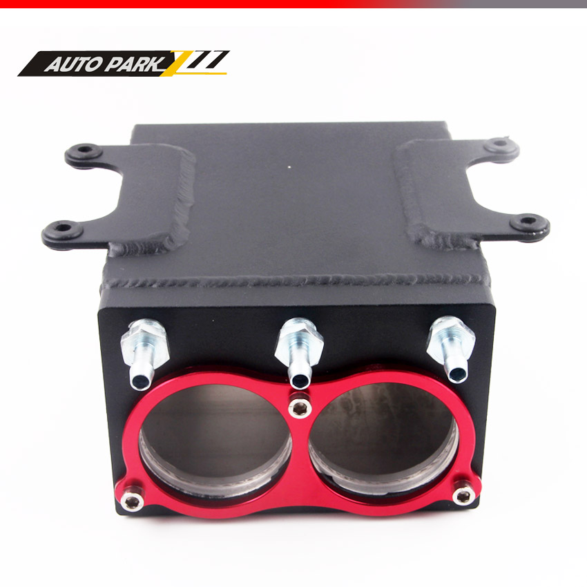 hot product 60mm dual port external 044 fuel pump tank racing black Billet aluminium with fitting oil catch can fuel surge tank tansky high q external 044 dual fuel pump anodized billet aluminum fuel surge tank tk yx6012 2k044