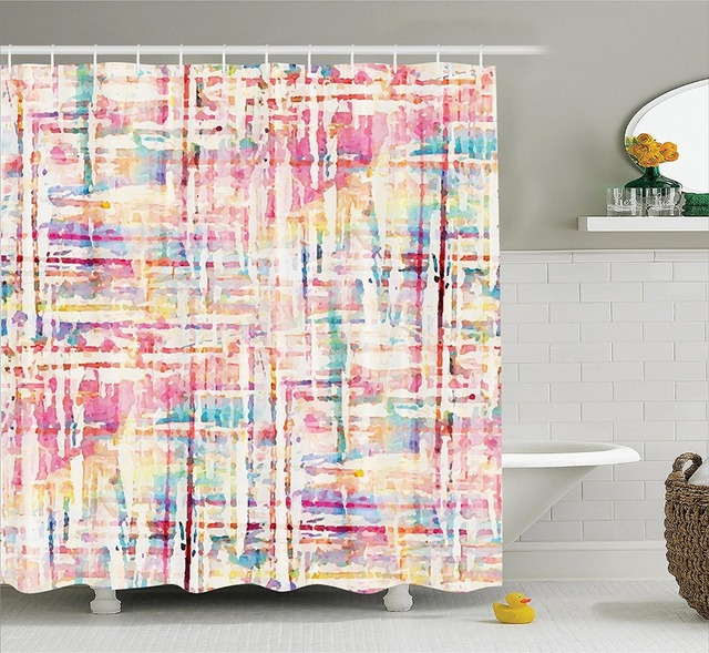 Shower Curtain Abstract Paint With Mixed Figures And Lines Artsy
