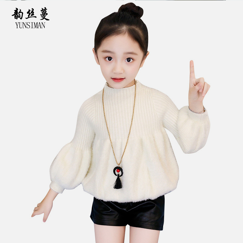 2018 Kids Girls Winter Clothes 4 6 8 10 to 12 Years Long Sleeve Red Solid O-neck Children Sweater Cute Kids Clothing Tops 12U8A 4 to 12 years kids