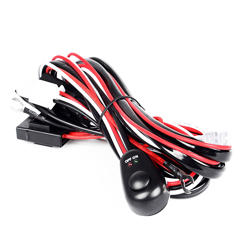 RACBOX 12V 2 Meter 40A Offroad LED Driving Lamp Extention Wire Relay LED Work Light Bar Wiring Loom Harness Kit Fuse Switch 4x4