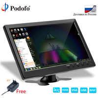 """Podofo 10,1 """"Monitor LCD HD y pantalla de ordenador pantalla en Color 2 canales entrada de vídeo Monitor de seguridad con BNC/AVI/VGA/HDMI"""