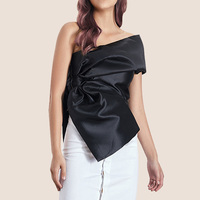 2019 Summer Solid Elegant Women Blouse Asymmetrical Skew Collar Off One Shoulder Sexy Top Bow Draped Silky Zipper Shirt
