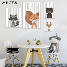 Woodland Forest Animal Deer Bear Poster Cartoon Nursery Wall Art Print Canvas Painting Decoration Picture for Nordic Kid Bedroom