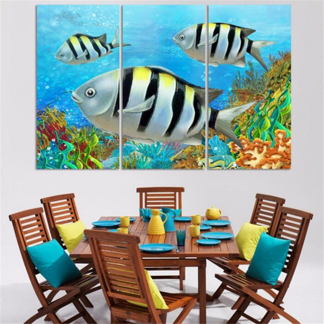 3 panels free shipping home deco decorative painting on canvas beautiful scenery ocean lovely fish